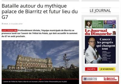 Le JDD Journal du dimanche du 14 octobre 2018 Bataille autour du mythique palace de Biarritz et futur lieu du G7