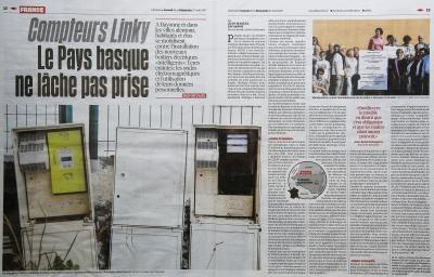 """Libération du 26 et 27 août 2017 """"Compteurs Linky Le Pays basque ne lâche pas prise"""""""
