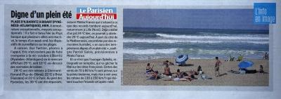 """Le Parisien-Aujourd'hui en France le 16 Octobre 2017  """"L'info en Image"""" Bidart Pays basque plage d'Ilbarritz"""""""