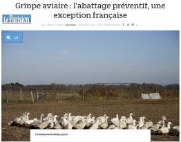 Grippe Aviaire (leparisien.fr) samedi 7 janvier 2017
