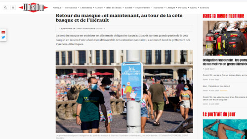 Mesures sanitaires Retour du masque : et maintenant, au tour de la côte basque et de l'Hérault