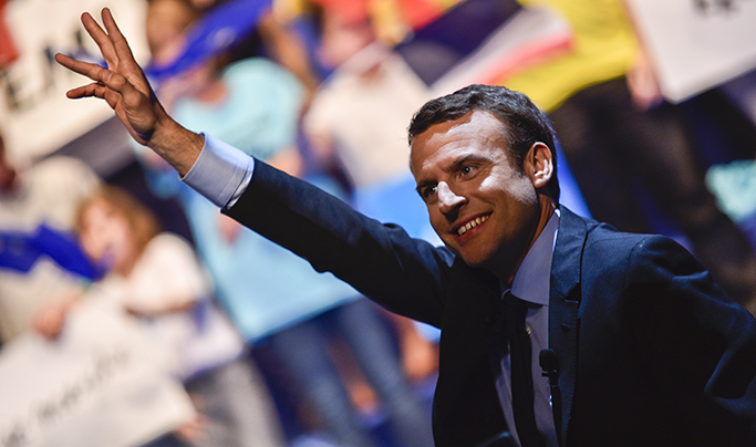 Politique : Présidentielles 2017 Emmanuel Macron à Pau.