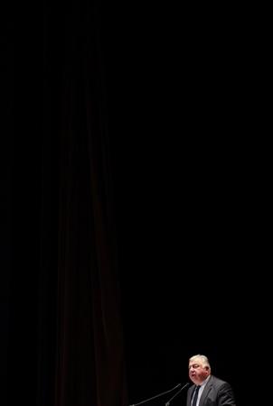 """Gérard Larcher discours de cloture,  le président du Sénat en visite en visite à Biarritz au Pays Basque dans le cadre de la 15 ème UHFP (Université d'Hiver de la formation professionnelle ) le vendredi 2 février 2018 pour aborder entre autres  la question de """"comment attirer des jeunes vers les métiers du tourisme et de l'hôtellerie"""".  Biarritz, Pays basque, Nouvelle Aquitaine, Pyrénées-Atlantiques, Europe, France."""