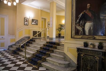 L'Hôtel du Palais de Biarritz et son intérieur actuel.  Biarritz, Pays Basque, Region Nouvelle-Aquitaine, Pyrenees-Atlantiques France, Europe.